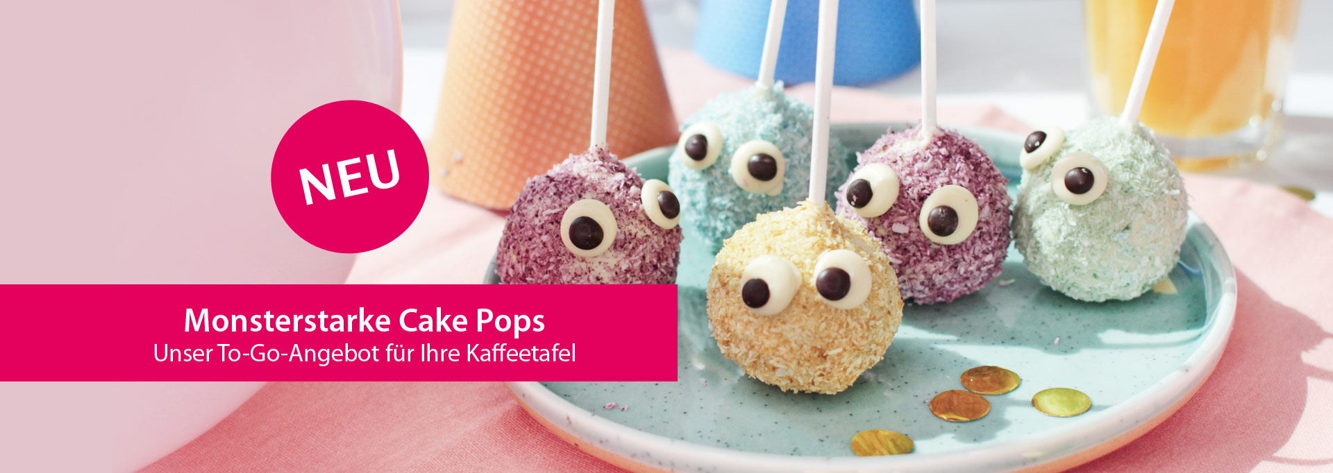 Viba Monster Cake Pops - kleine, bunte Kuchen am Stil für Kinder auf einem Teller